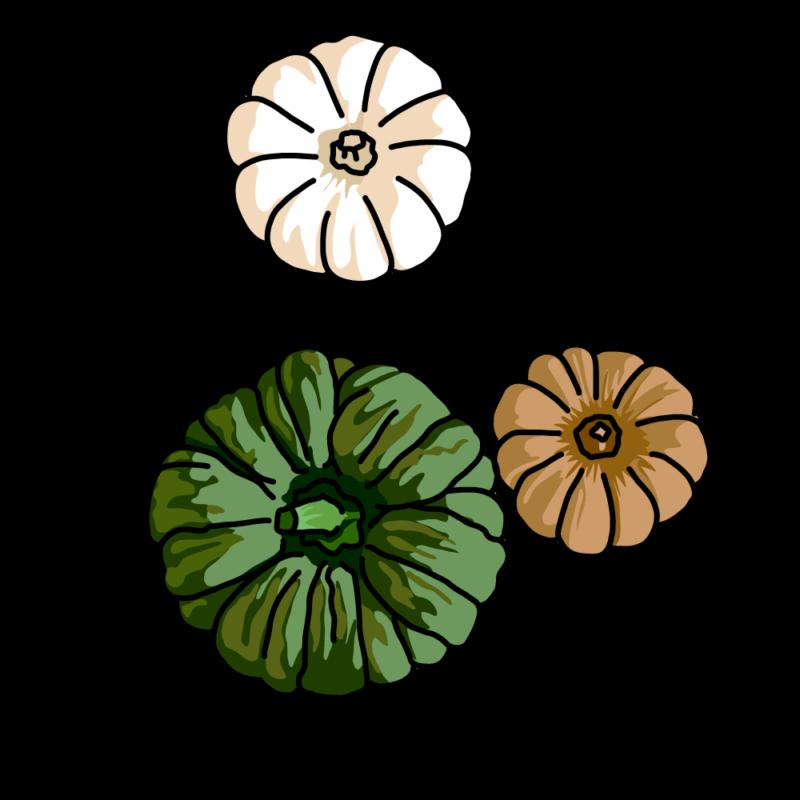 カボチャ3個のお飾りグリーン