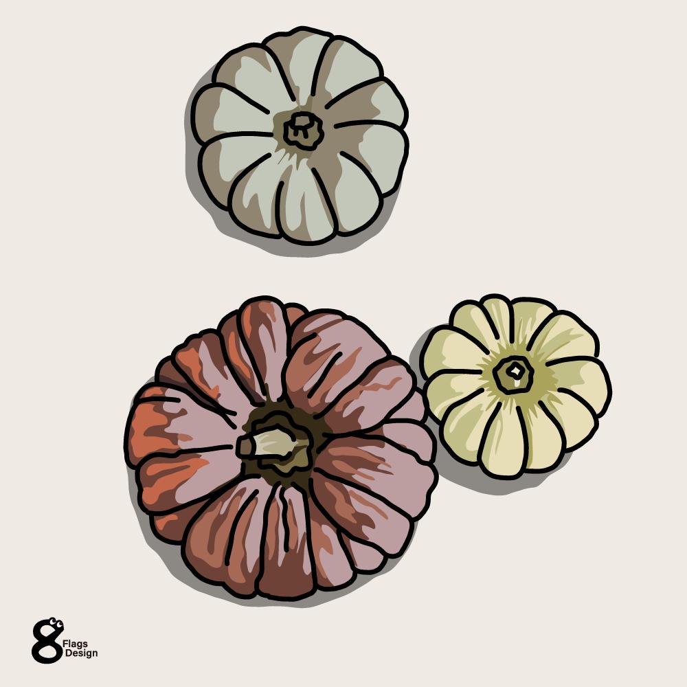 カボチャ3個のお飾りのキャッチ画像
