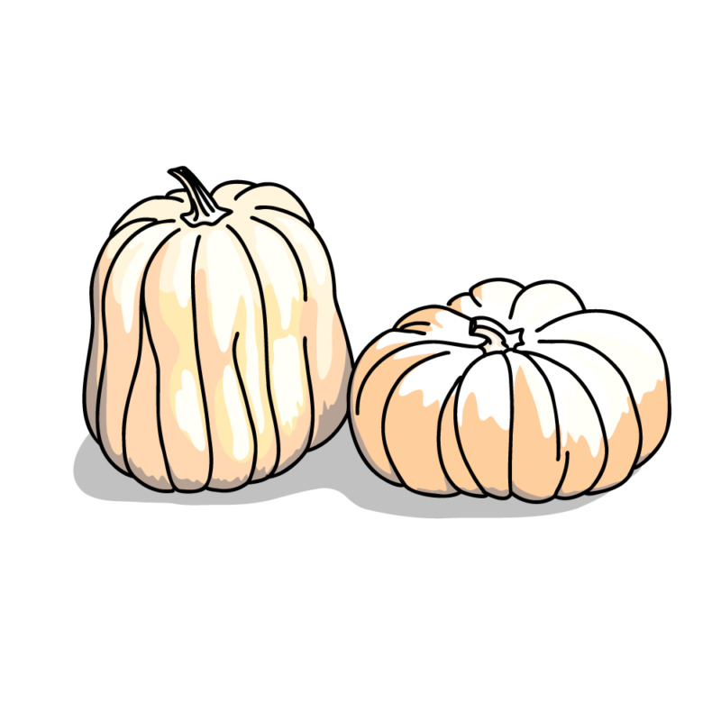ハロウィンのカボチャ2個ホワイト