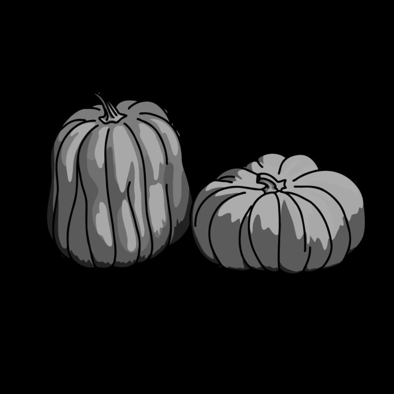 ハロウィンのカボチャ2個モノクロ