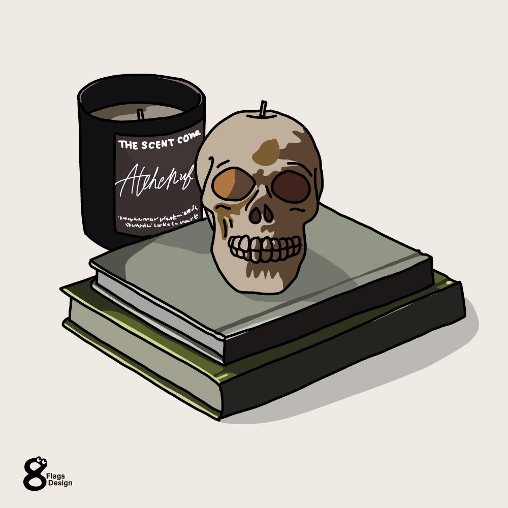 スカルと本のキャッチ画像