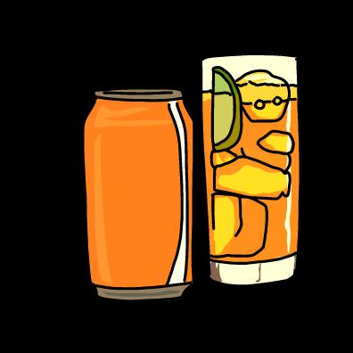 炭酸の缶ジュースオレンジ