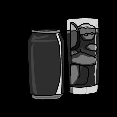 炭酸の缶ジュースモノクロ