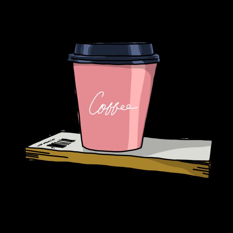 紙コップと本ピンク