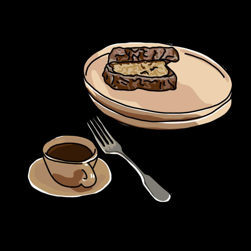 サンドウィッチとコーヒーブラウン