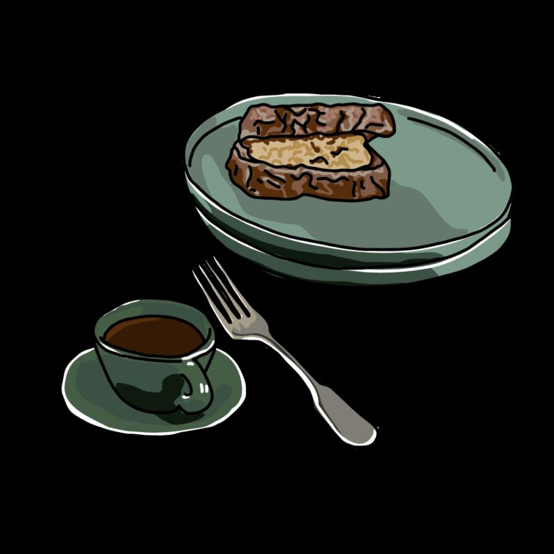 サンドウィッチとコーヒーグリーン