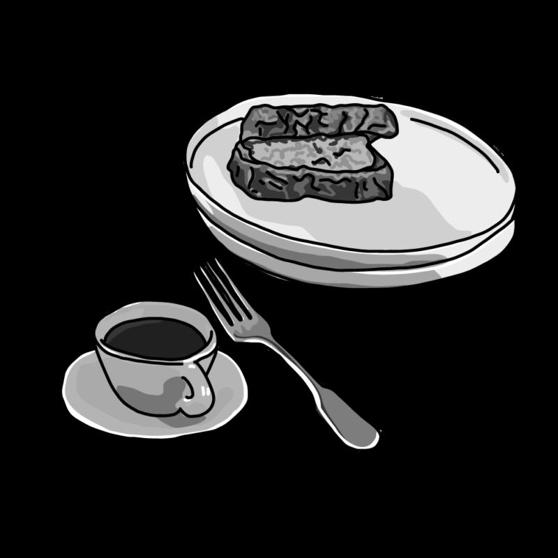 サンドウィッチとコーヒーモノクロ