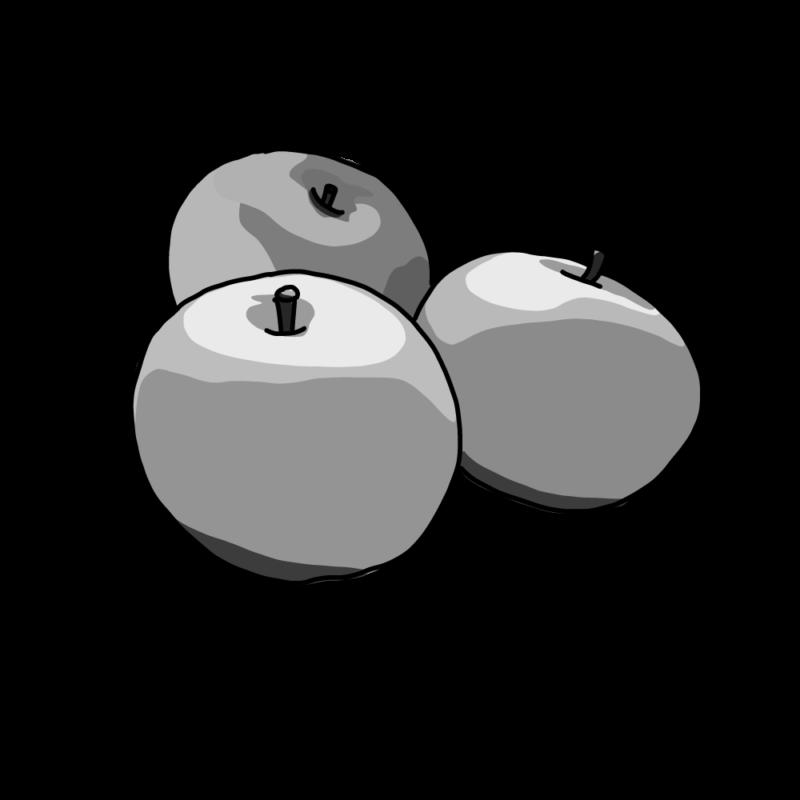 りんごモノクロ