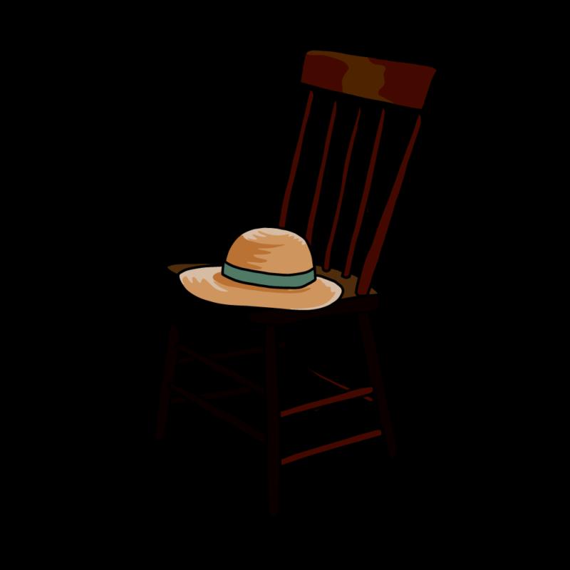 椅子と麦わら帽子ブラウン
