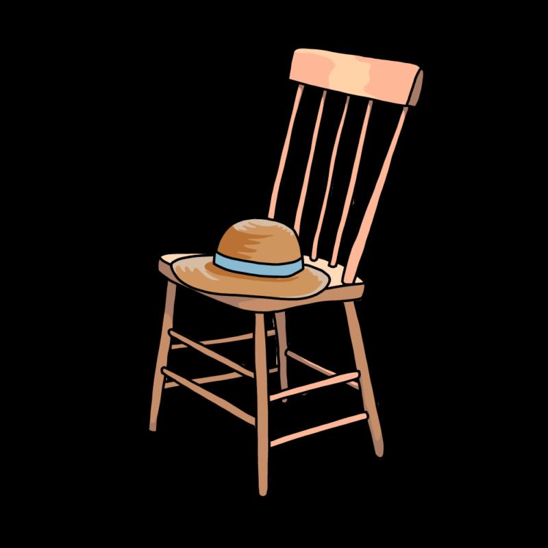 椅子と麦わら帽子空色