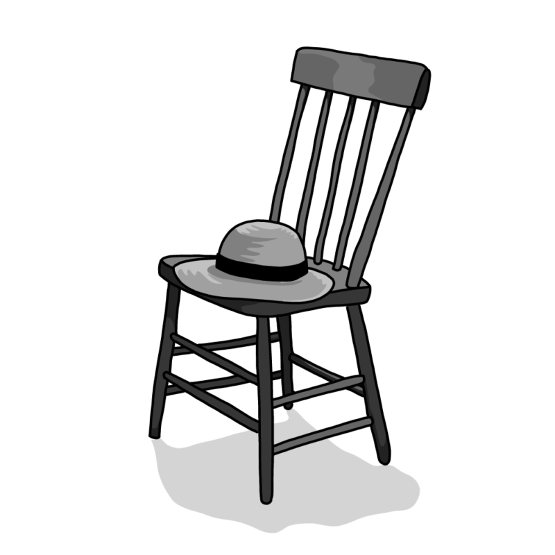 椅子と麦わら帽子モノクロ