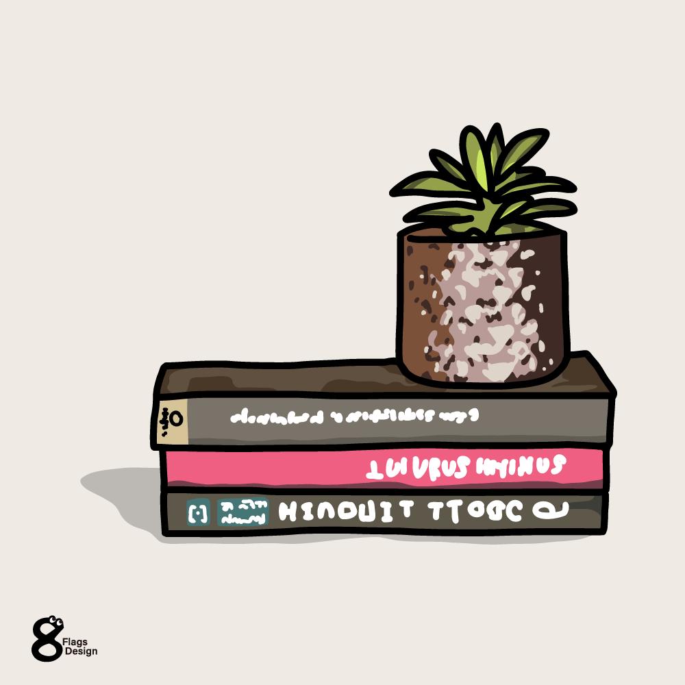 本と鉢植えのキャッチ画像