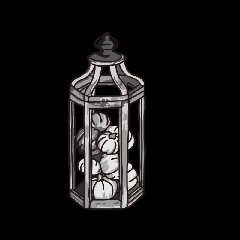 カボチャのランプモノクロ