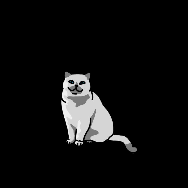 ほほ笑むネコ白