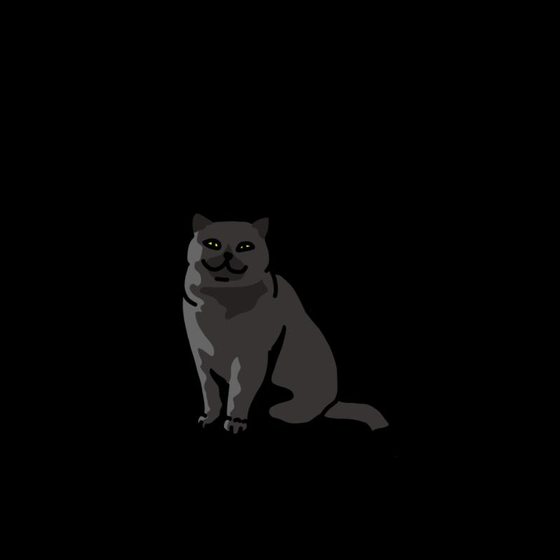 ほほ笑むネコブラック