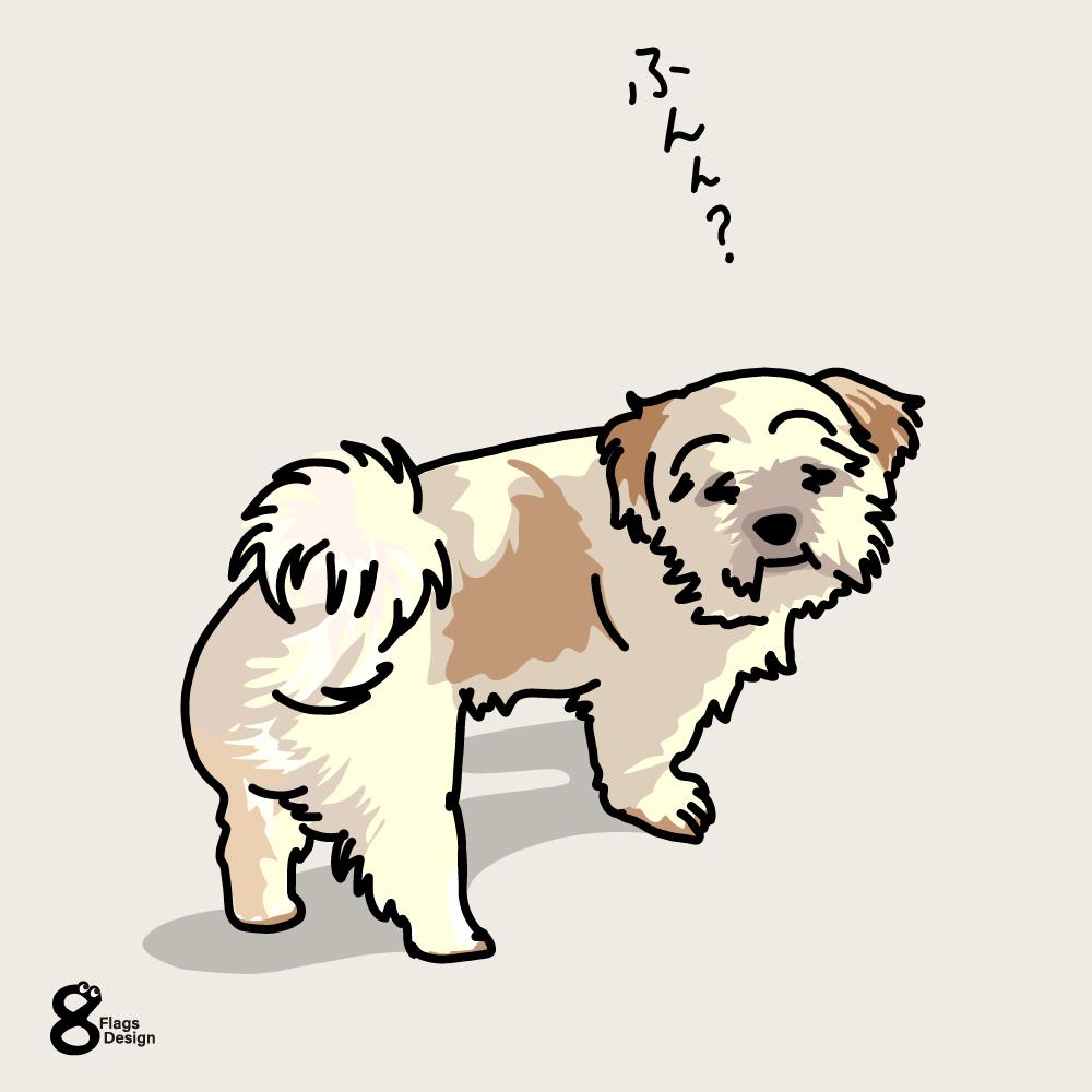 心細くなってるムク犬のキャッチ画像