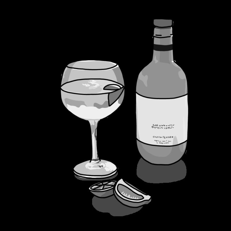 お酒とグラスモノクロ