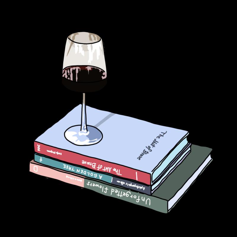 ワインと本ブルー
