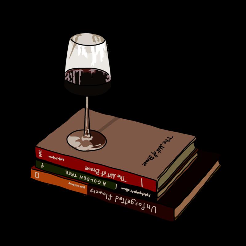 ワインと本ブラウン