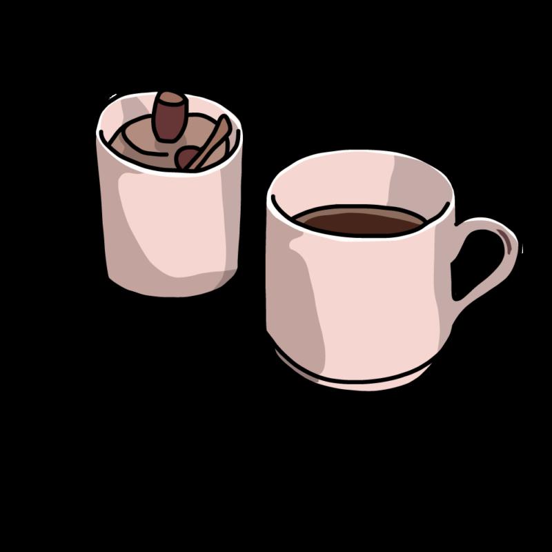 コーヒーとシュガーポットピンク