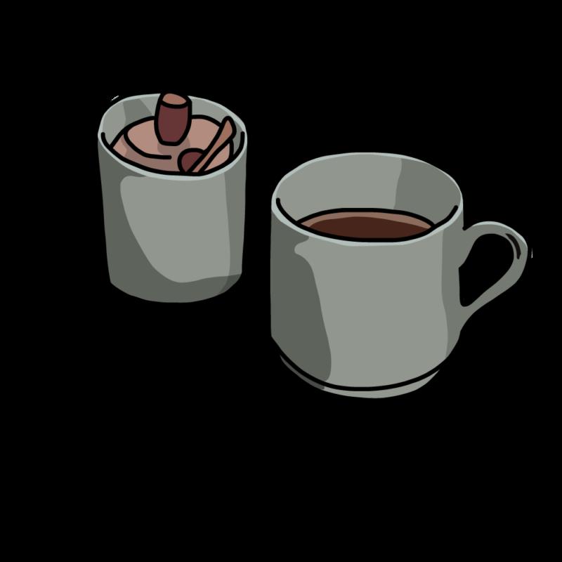 コーヒーとシュガーポットグレー
