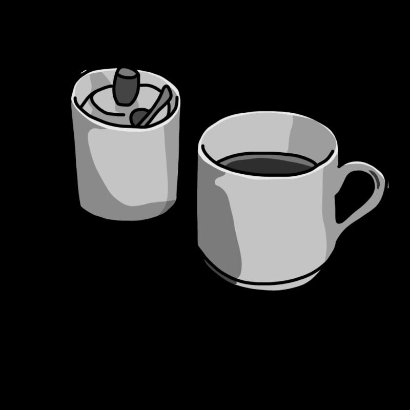 コーヒーとシュガーポットモノクロ