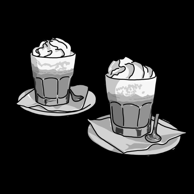 コーヒーラテモノクロ