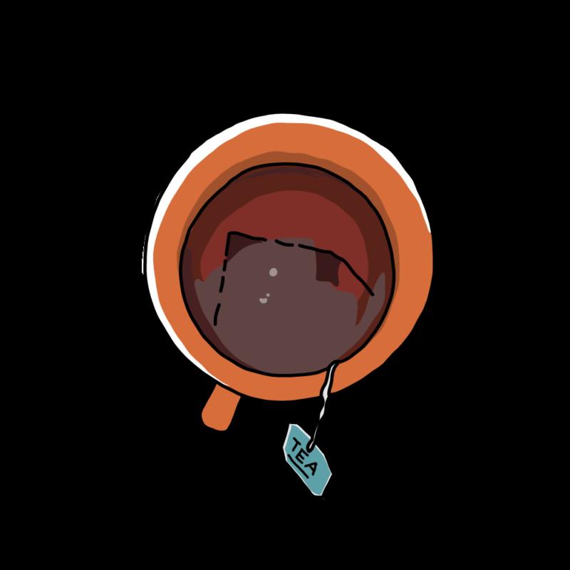 紅茶のカップオレンジ