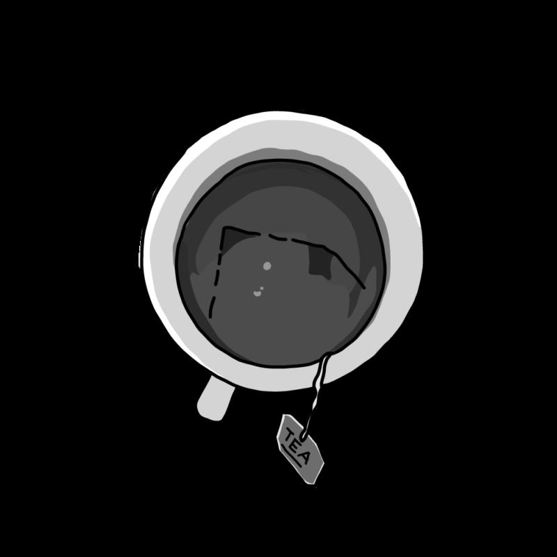 紅茶のカップモノクロ