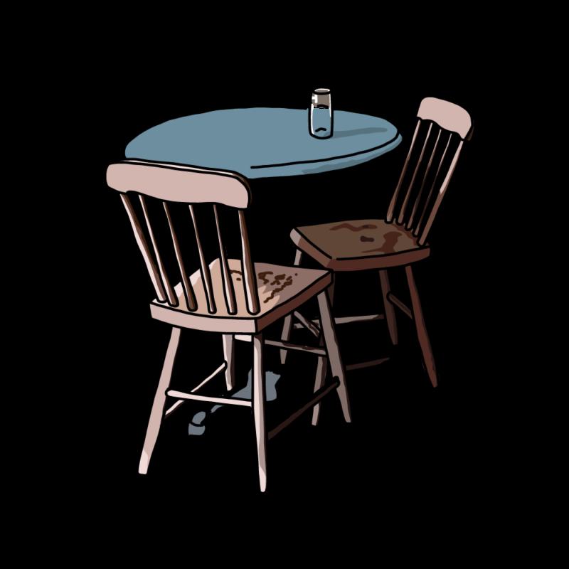 テーブルと椅子ブルー