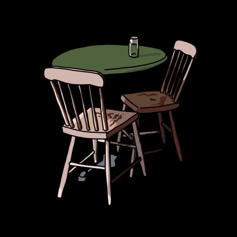 テーブルと椅子グリーン