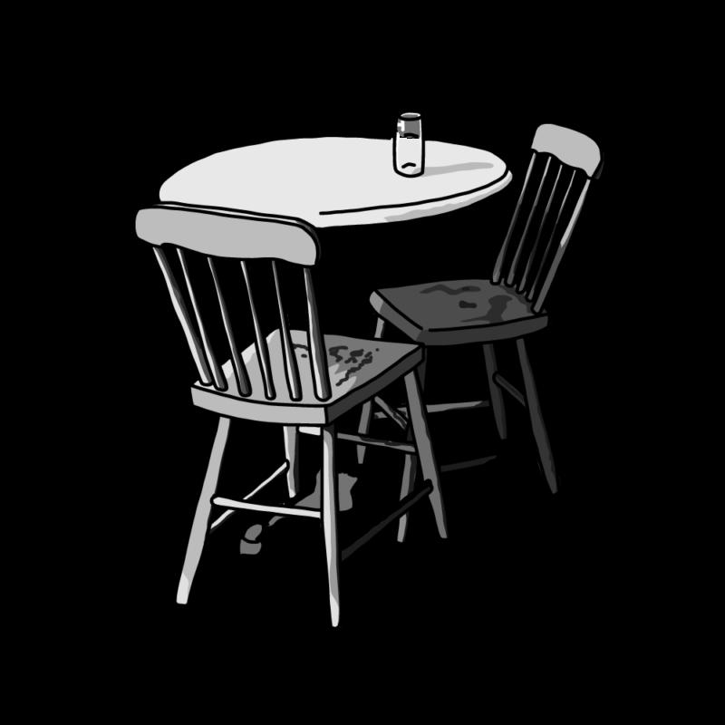 テーブルと椅子モノクロ