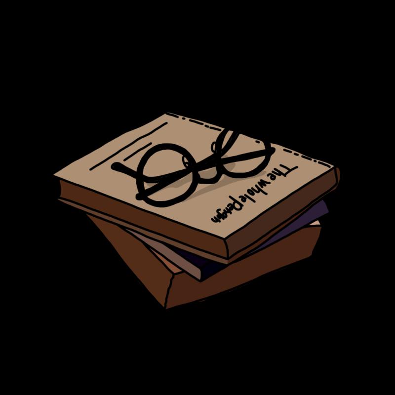 メガネと本ブラウン