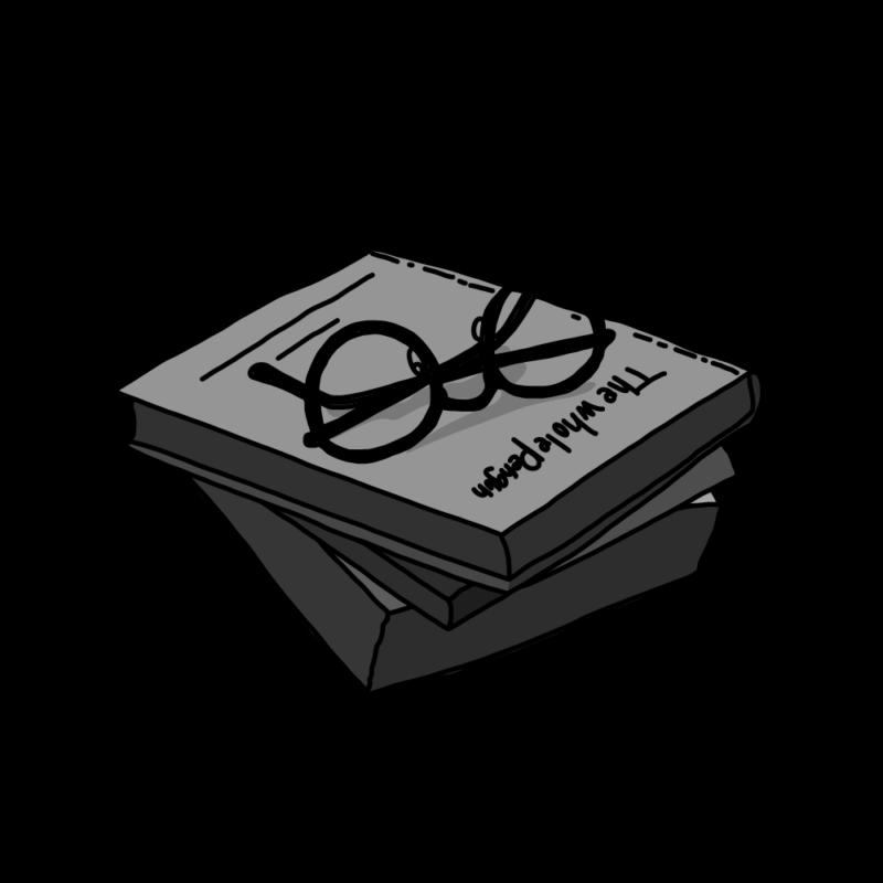 メガネと本モノクロ