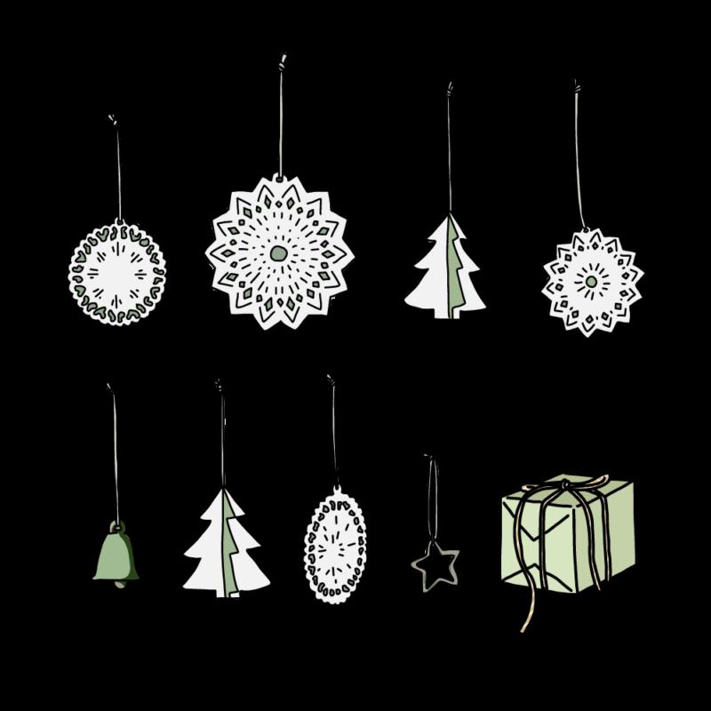 クリスマスツリーのオーナメントグリーン