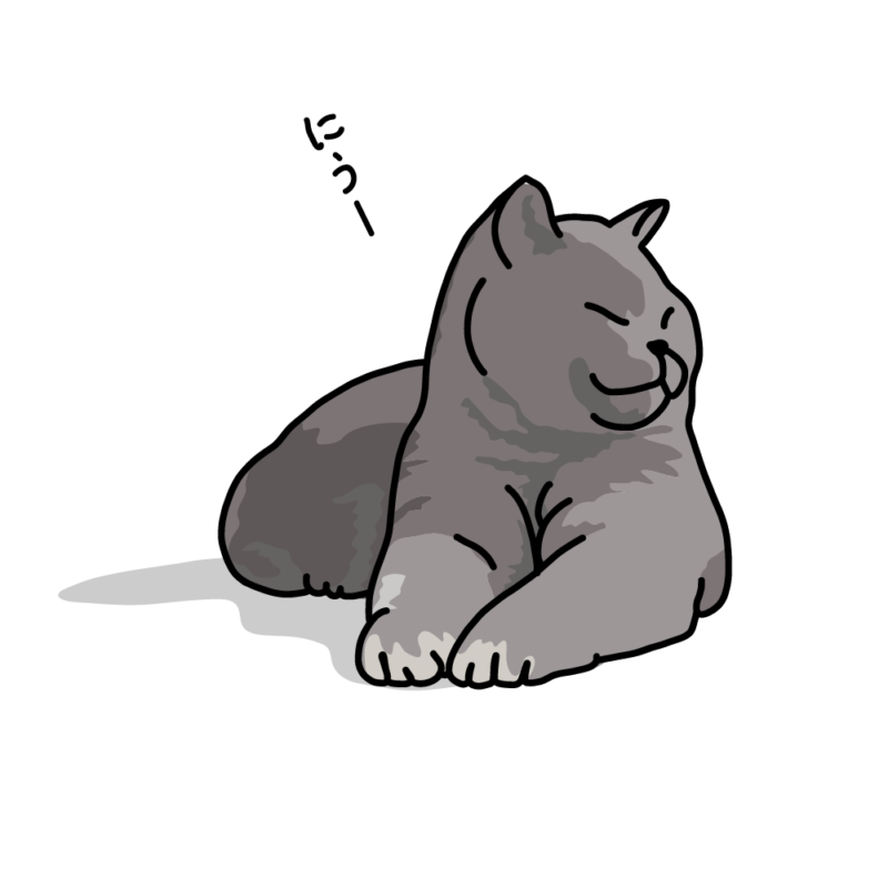 日向ぼっこのネコグレー