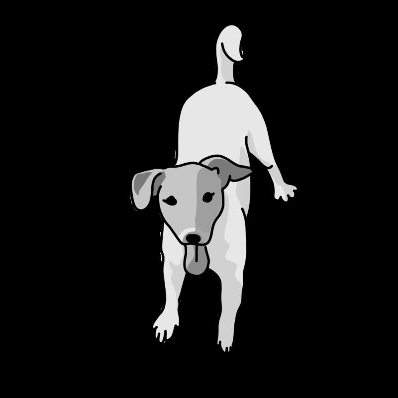ぴょんぴょん犬モノクロ