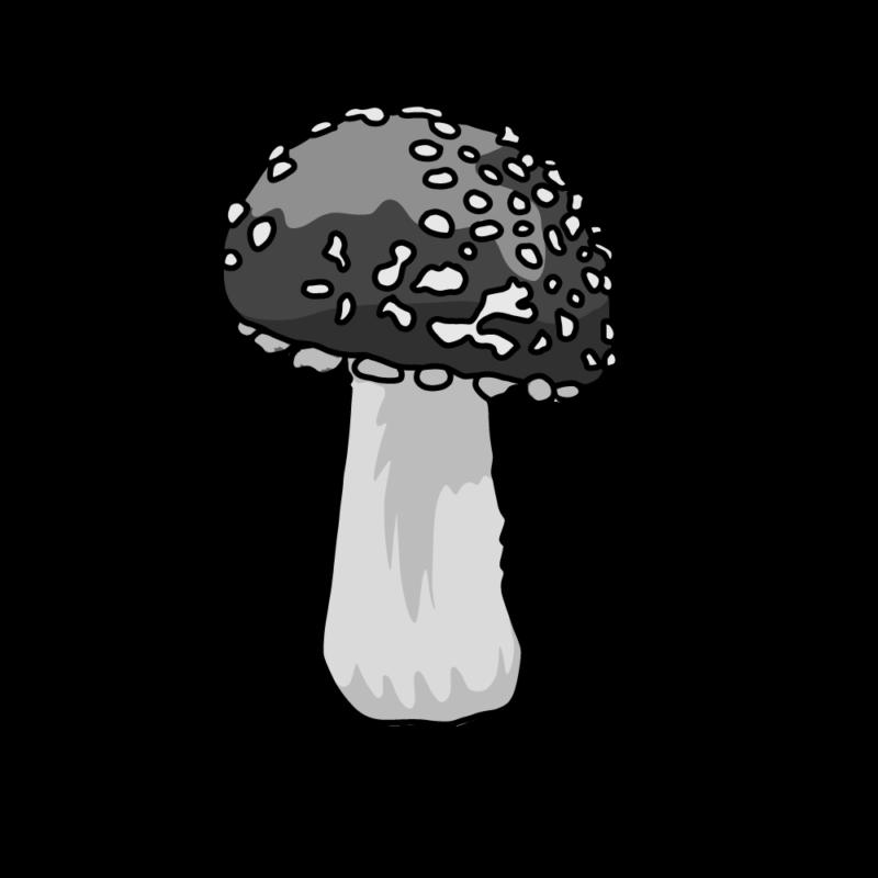 キノコ(毒)モノクロ