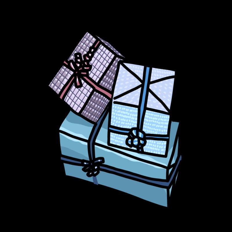 プレゼントボックス青