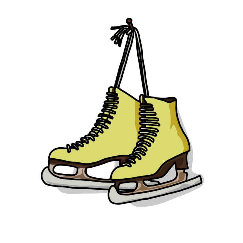 スケート靴黄色