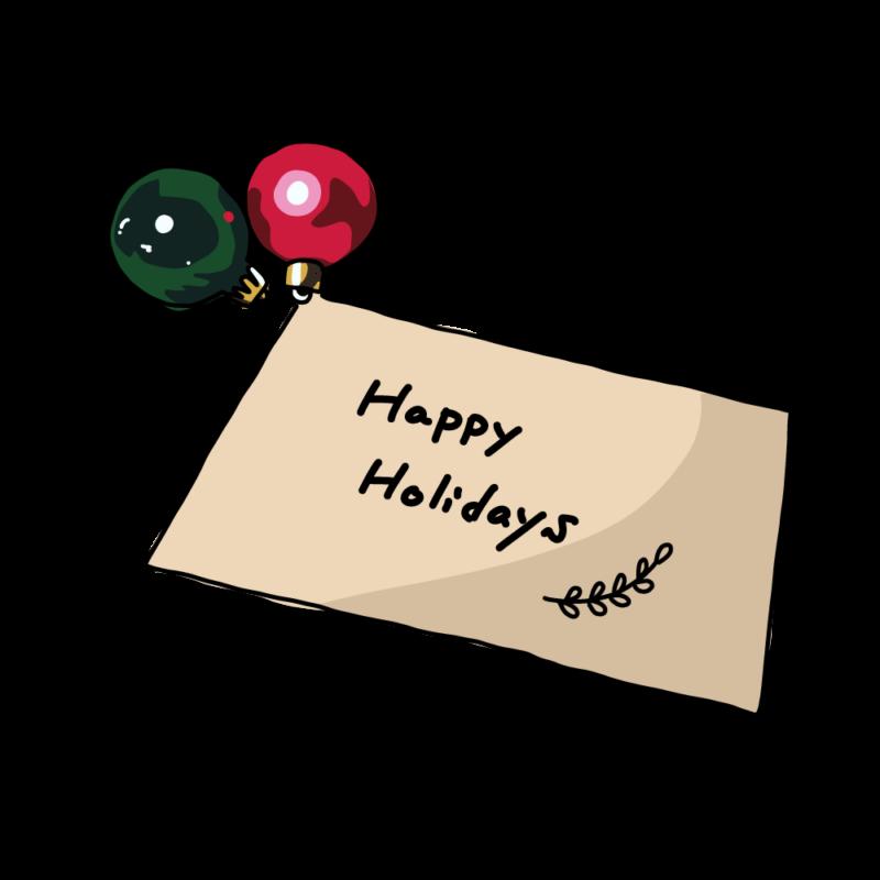 オーナメントとクリスマスカード赤