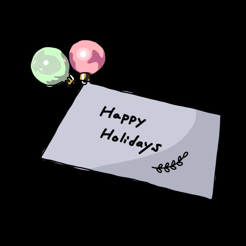 オーナメントとクリスマスカードパステル