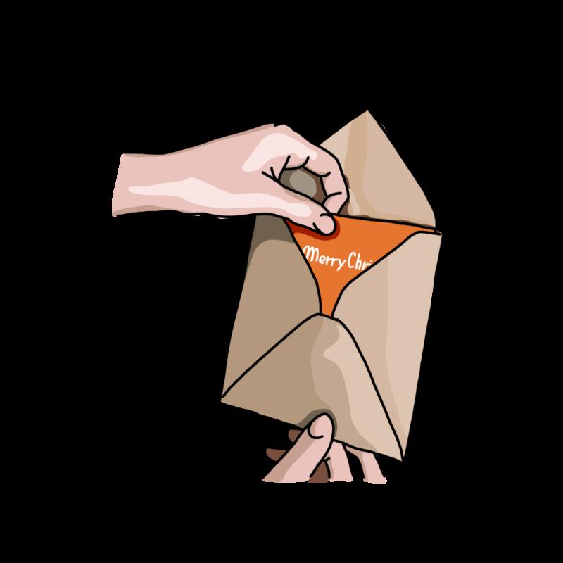 クレジットカードを開封するオレンジ