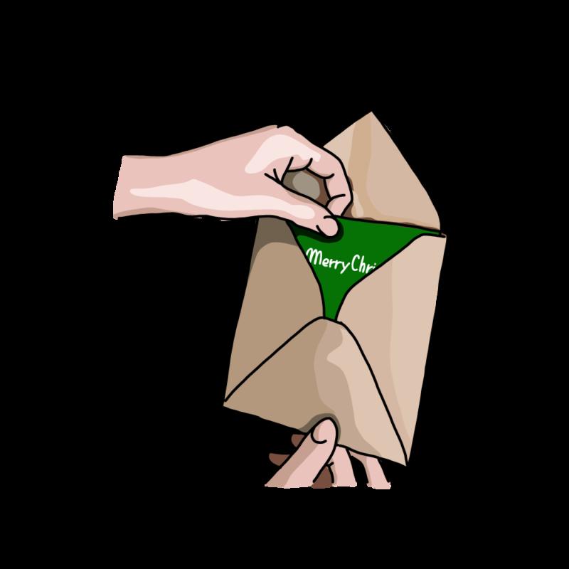クレジットカードを開封するグリーン