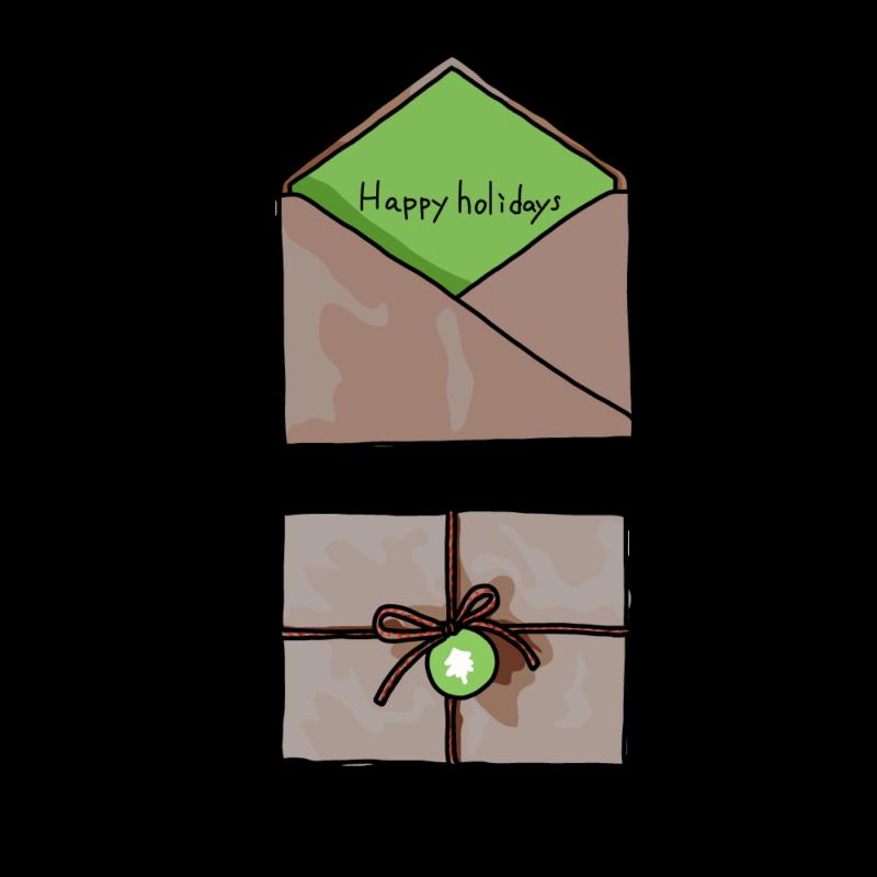 クリスマスカードと封筒グリーン