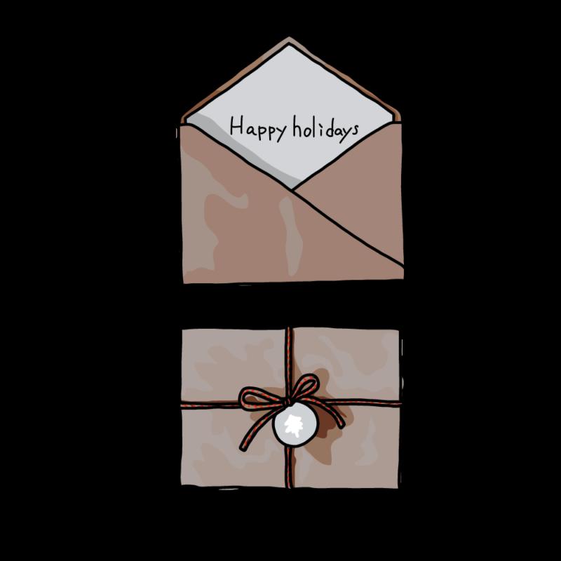 クリスマスカードと封筒白