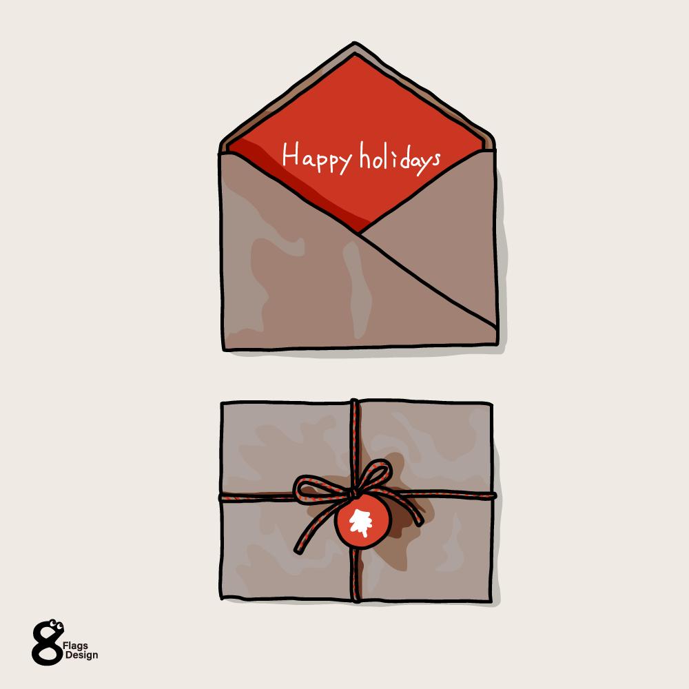 クリスマスカードと封筒のキャッチ画像