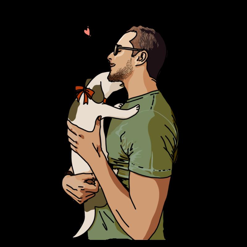犬と男性グリーン