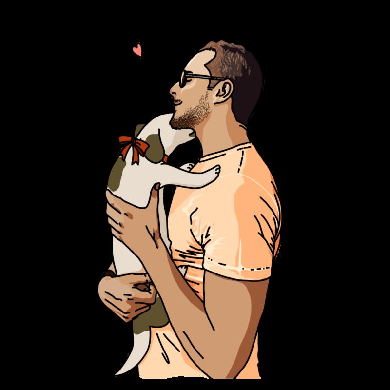 犬と男性オレンジ