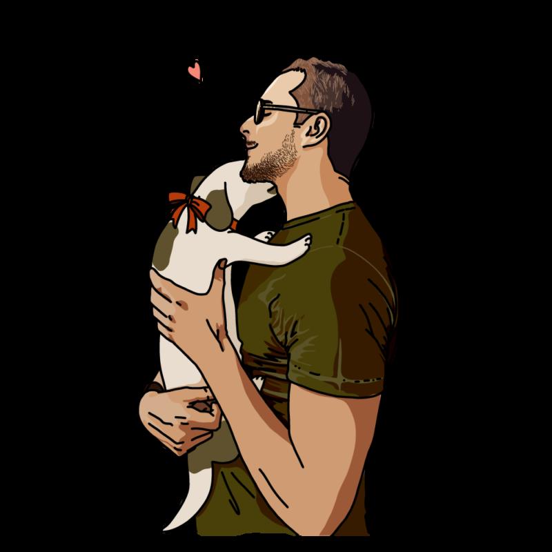 犬と男性ブラウン